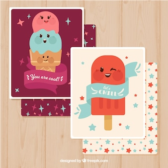 Nice ice cream cards in retro style