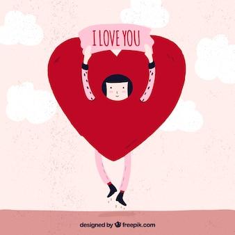 Nice illustration of girl inside heart