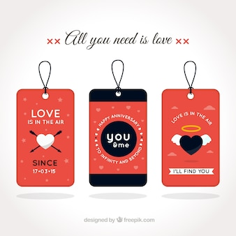 Nice love labels with hearts
