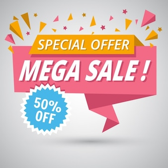 Nice origami banner for sales discounts