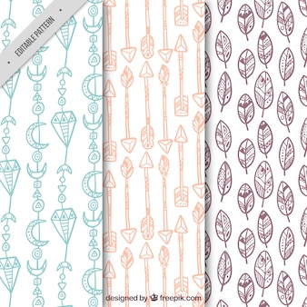 Nice patterns of hand drawn boho objects