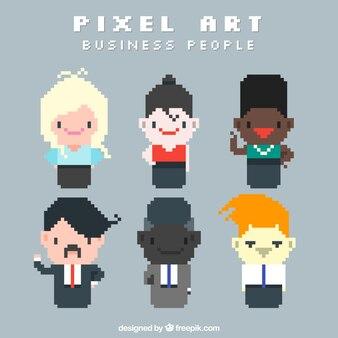 Nice pixilated business people
