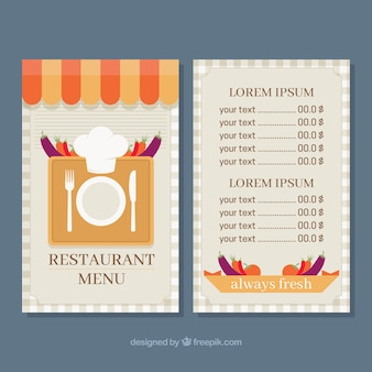 Nice restaurant menu