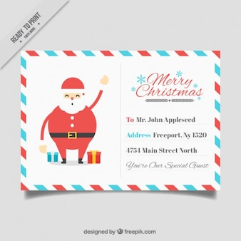 Nice santa claus christmas postcard