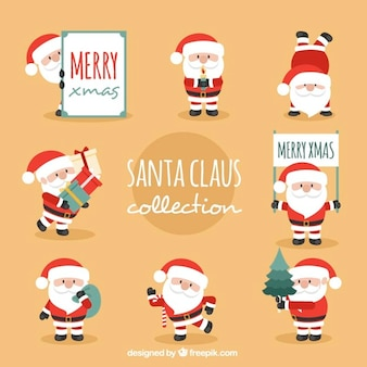 Nice santa claus in different positions