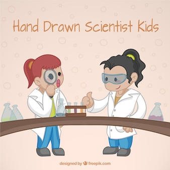 Nice scientist girls in an experiment