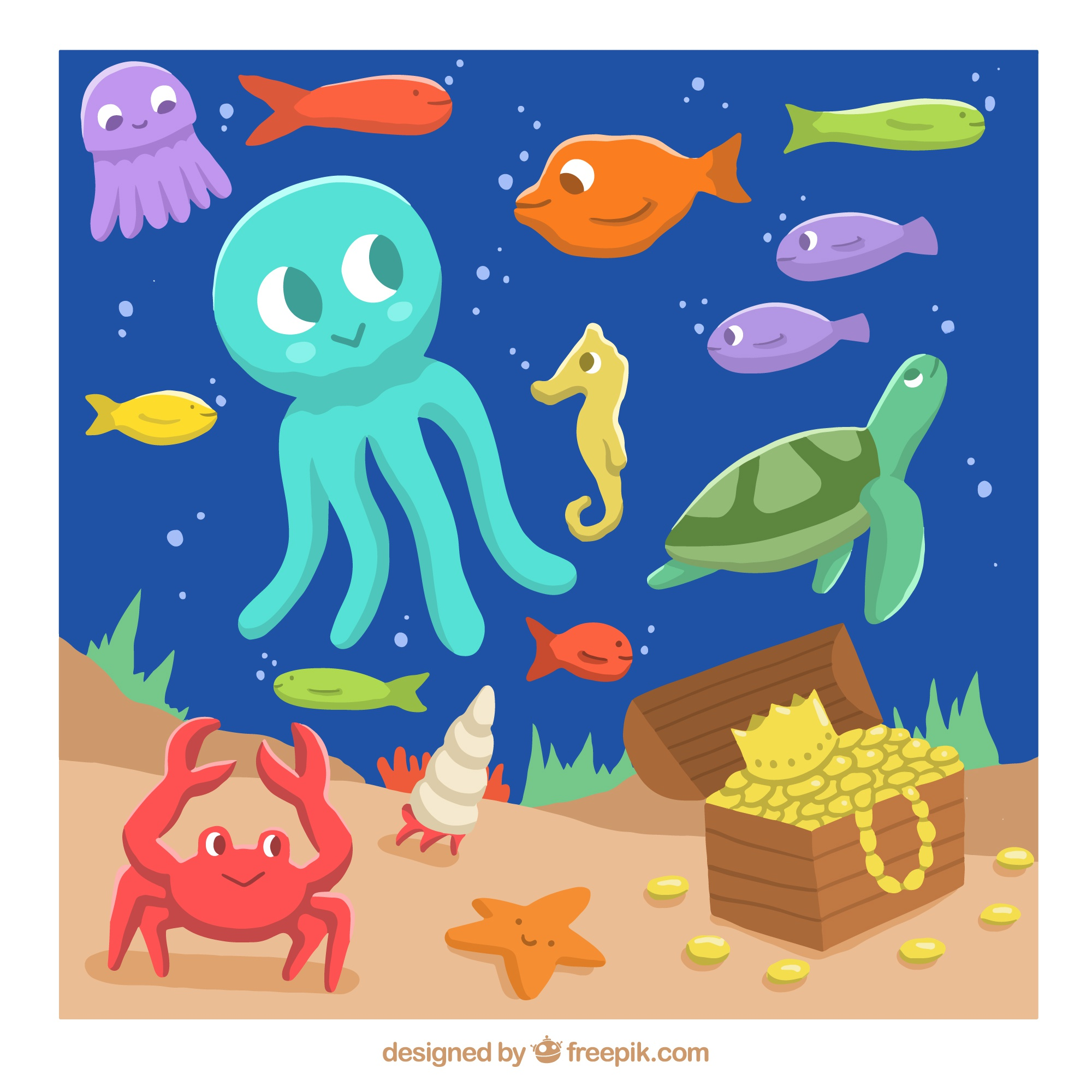 Nice sea creatures on the ocean floor