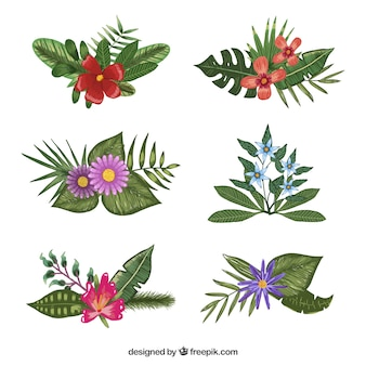 Nice selection of different flowers painted with watercolors