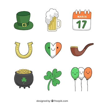 Nice sketches ST. Patrick elements set