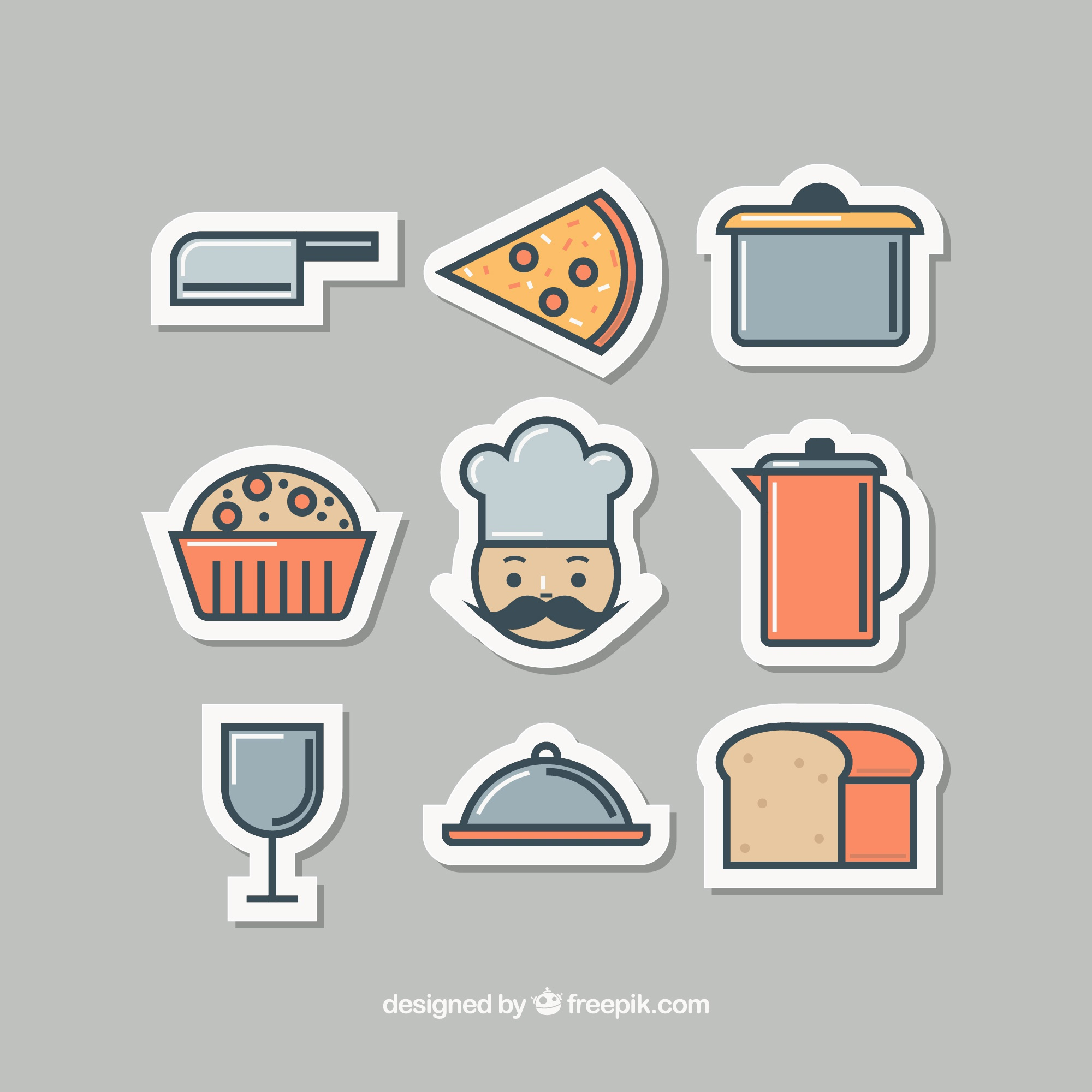 Nice stickers for kitchen objects and chef