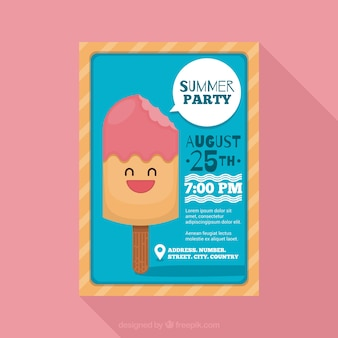 Nice summer party brochure with ice cream
