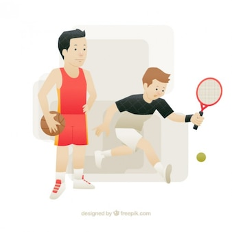 Nice tennis player boy and basketball player