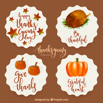 Nice thanksgiving watercolor stickers