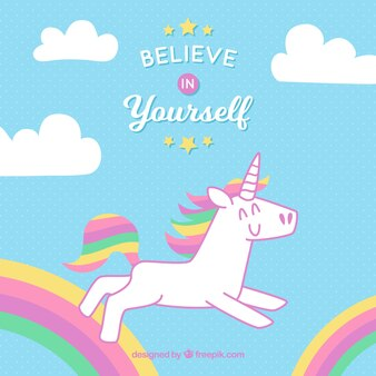 Nice unicorn background with rainbow and clouds
