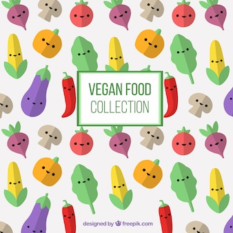 Nice vegetables characters background in flat design