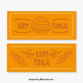 Nice vintage banners with happy pongal drawings