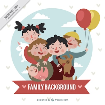 Nice vintage characters of happy family
