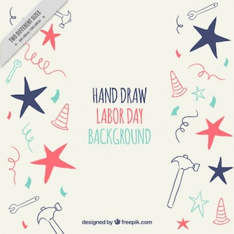 Nice vintage labor day background of sketches