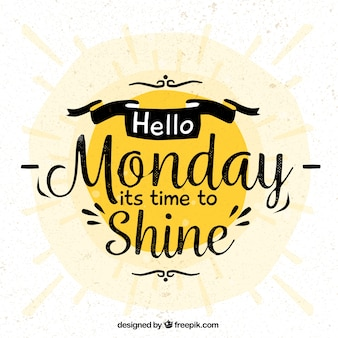 Nice vintage lettering of monday with sun