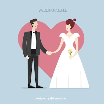 Nice wedding couple with heart background