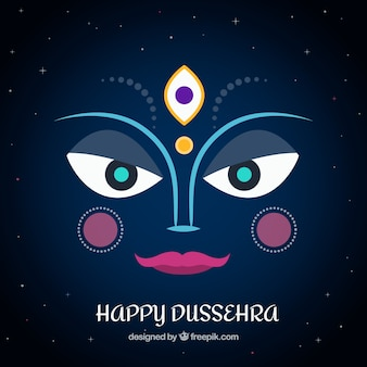 night background of happy dussehra with face