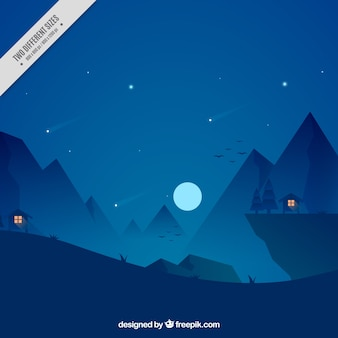 Night background of houses in the forest