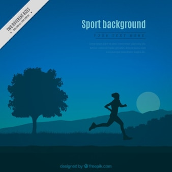 Night background with a runner