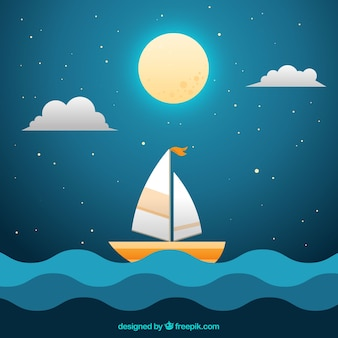 Night background with full moon and boat in the sea