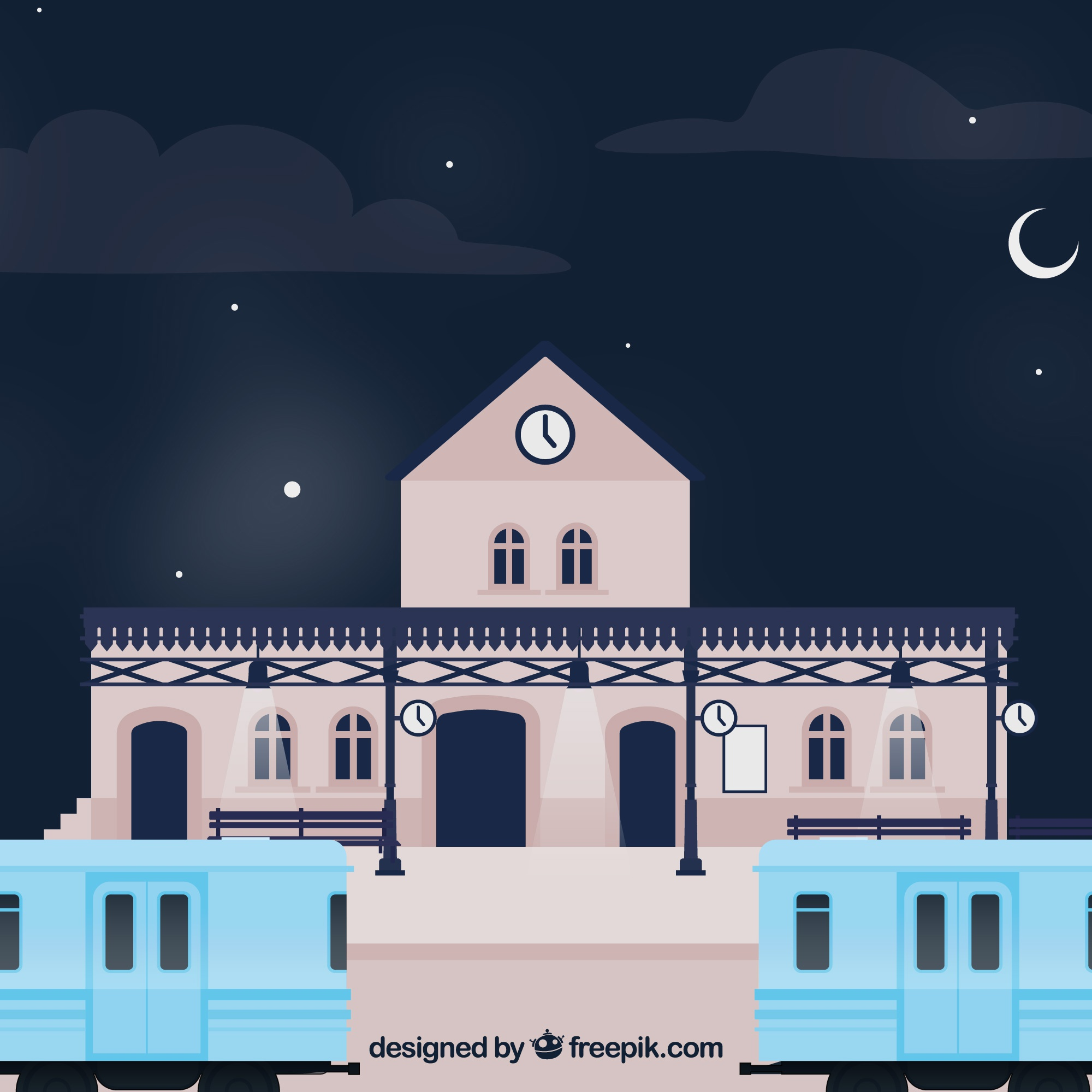 Night background with train station