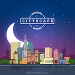 Night cityscape background with a big moon