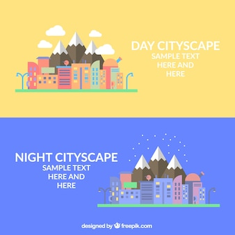 Night cityscape in flat design