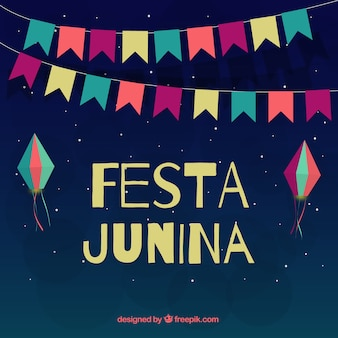 Night festa junina with colored decoration background