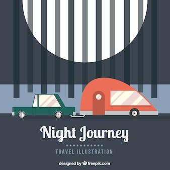 Night journey in flat design