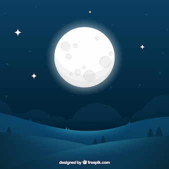 Night landscape background with big moon