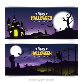 Night landscape graveyard banners