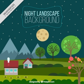 Night landscape green background with houses