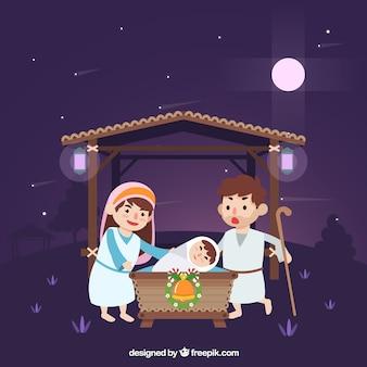 Night nativity scene background