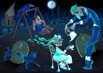 Night park with quirky characters
