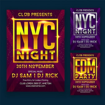 Night Party Flyer or Poster Design with Neon Text and Three Different Color Options.