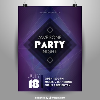 Night party poster with geometric figure