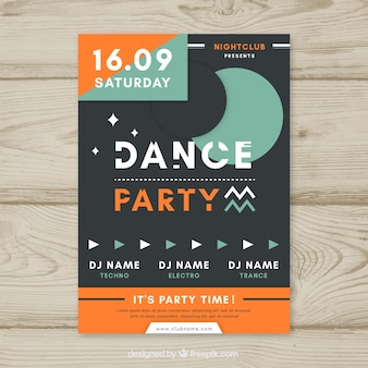 Night party poster with geometric style
