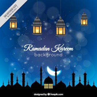 Night ramadan background with iluminated lanterns