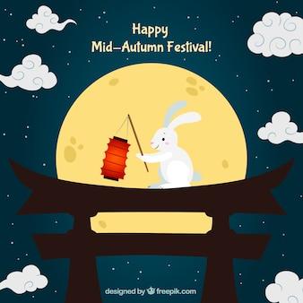 Night scene with a rabbit, mid autumn festival