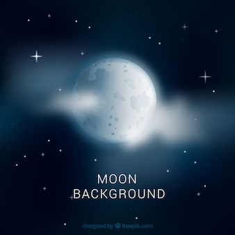 Night sky background with moon and clouds