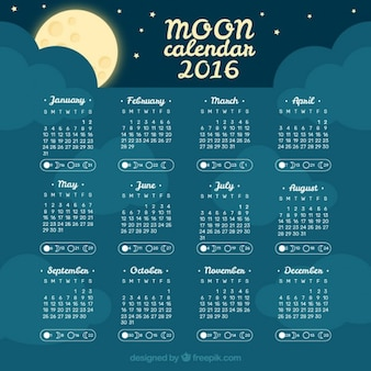 Night sky moon calendar 2016