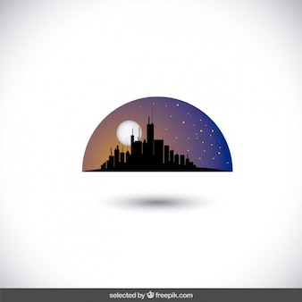 Nightfall city skyline