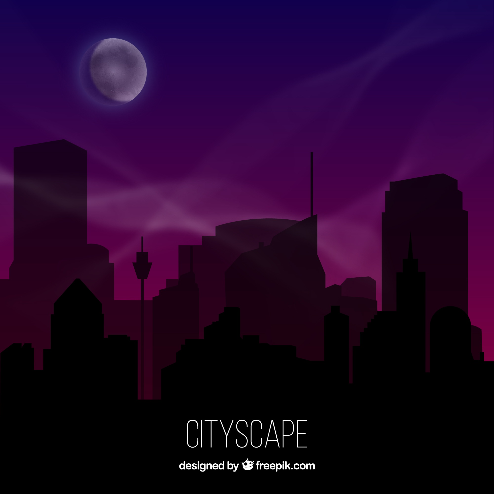Nighttime city silhouette background