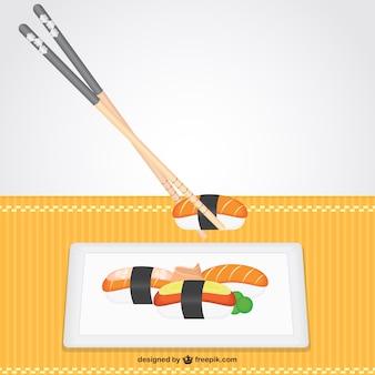 Nigiri plate and sticks