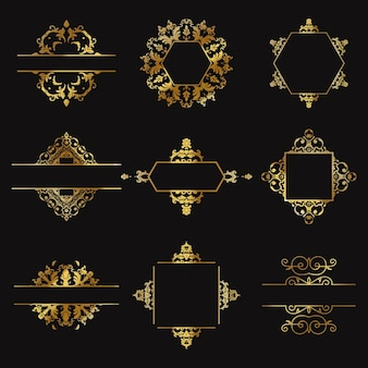 Nine gold ornaments on a black background