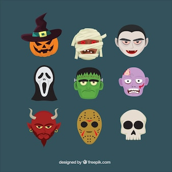 Nine heads of characters of halloween